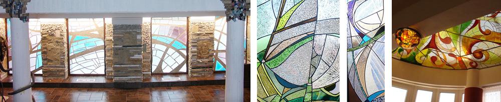Kundenphotos mit abstrakten Glasbildern für moderne Einrichtung