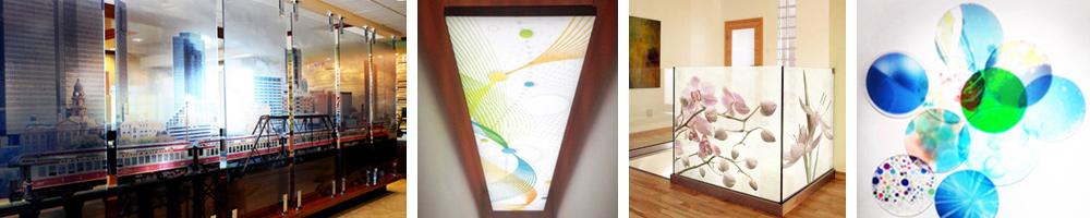 Raumteiler, Schwebetueren und runde Formen aus Glas