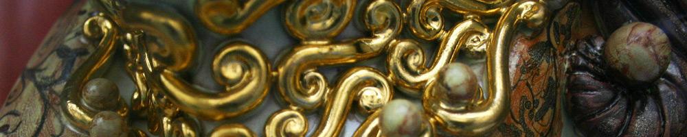 Keramik Kunst mit Vergoldung