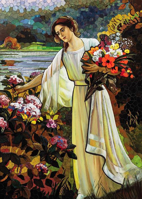 Mosaik nach Albert Lynch, Die Blumensammlerin