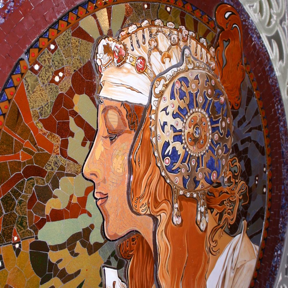 Mosaik nach Alphonse Mucha mit Glasfusion