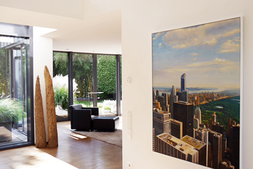New York Auftragsmalerei im weissen Schattenfugenrahmen
