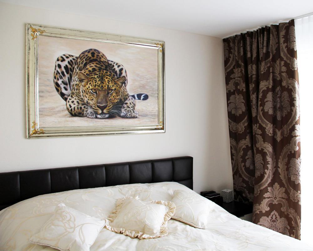 Modernes Auftragsgemälde mit Leopard