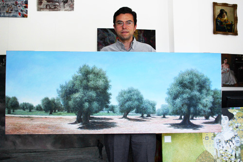 Moderne Auftragsmalerei mit Olivenbäumen im Panoramaformat