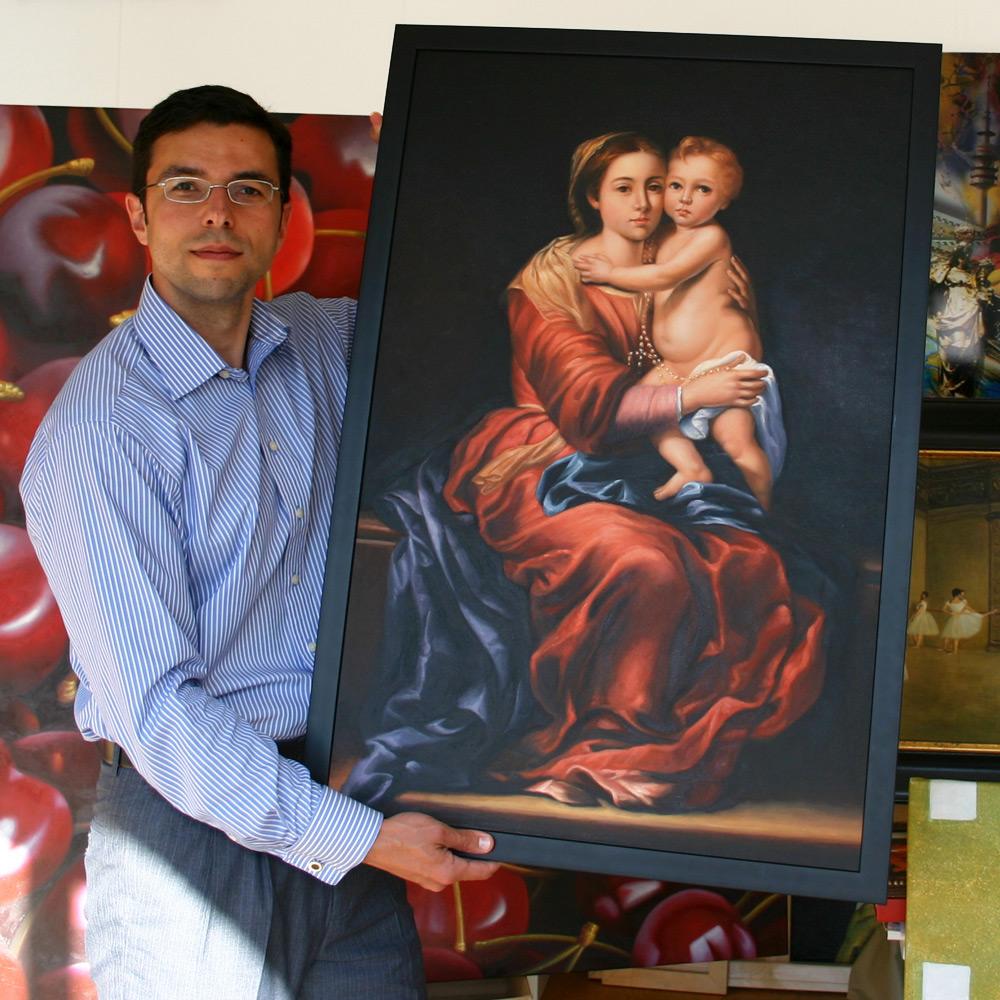 Religiöse Malerei im schlichten schwarzen Rahmen