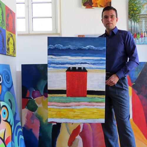 Abstraktes Gemälde Rotes Haus nach Kazimir Malevich