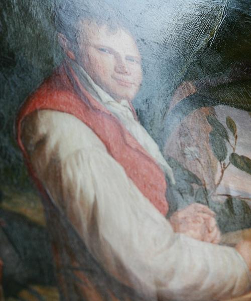 Glanzfirnis bei unserer Gemäldekopie Alexander von Humboldt nach Weitsch