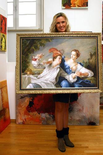 Klassisches Gemälde im Ornamentalrahmen kaufen
