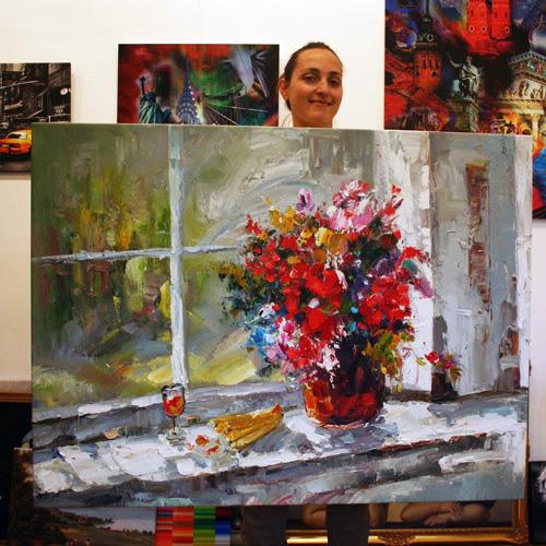 Mit Malmesser gemaltes Blumengemälde