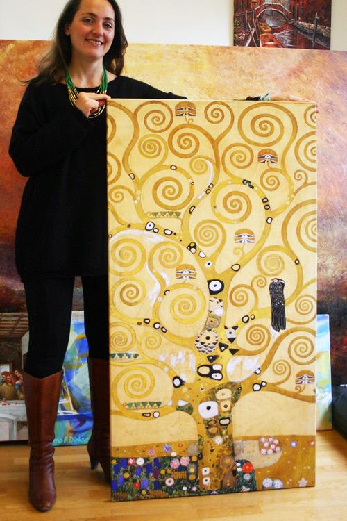 Klimt handgemaltes Gemälde Der Lebensbaum