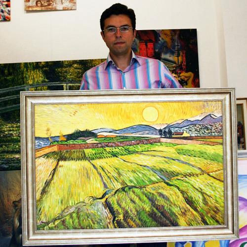 van Gogh Landschaftsgemälde mit Feldern und Sonne