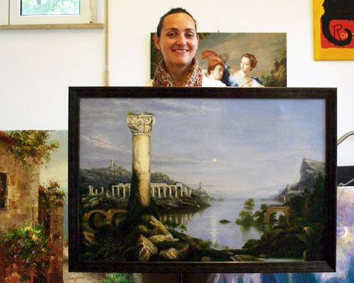 Landschaftsmalerei mit antiker Kulisse