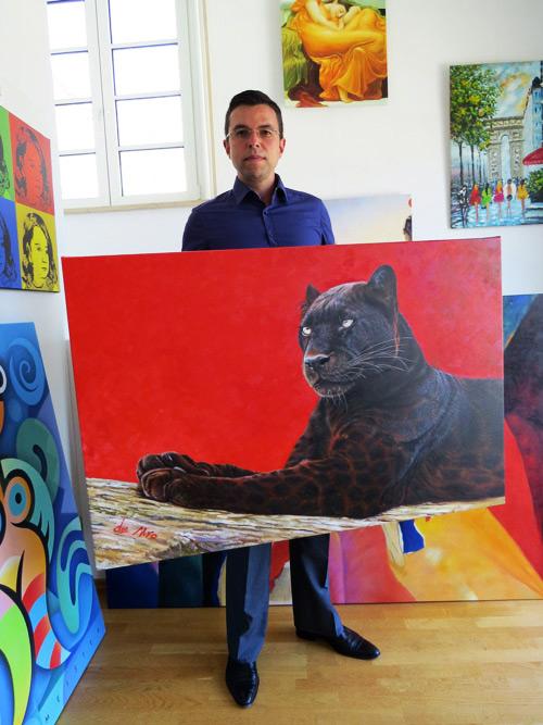 Auftragsgemälde mit schwarzem Leopard von zafrane München