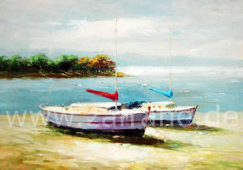 Ölgemälde mit Booten vor einem See