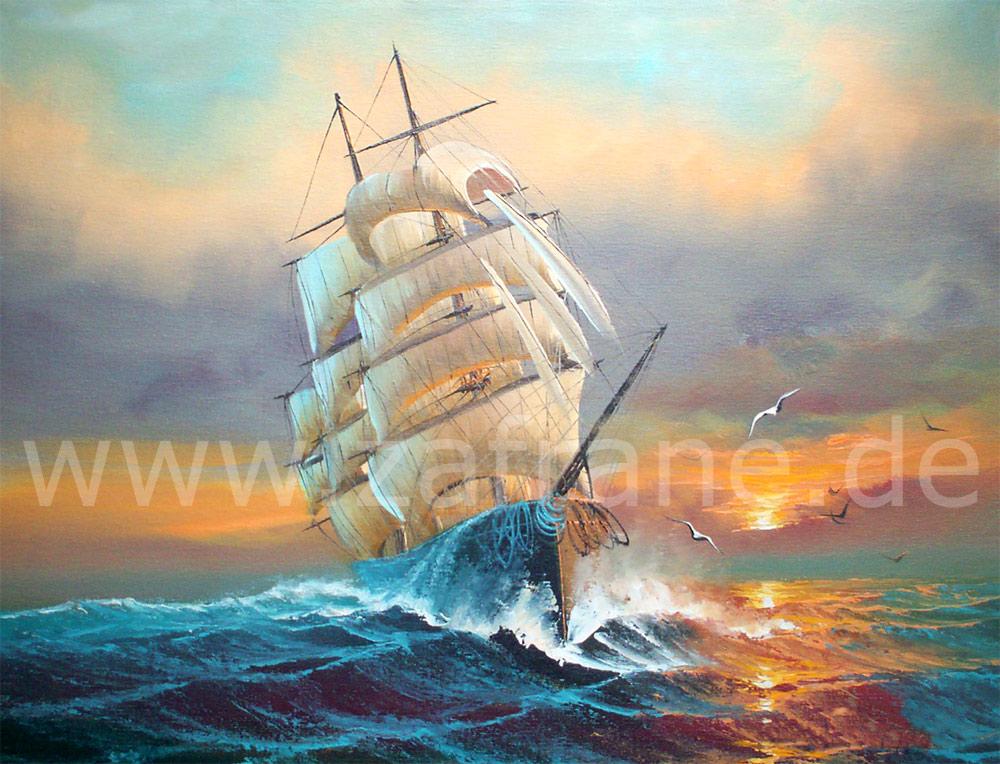 Maritimes Bild mit einem Segelschiff