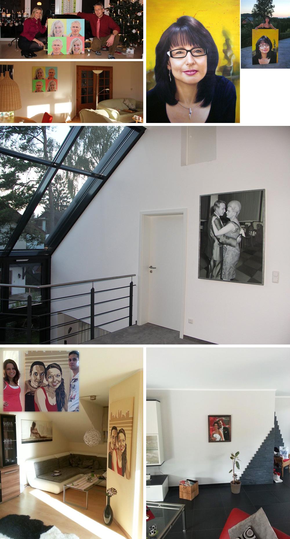 Kundenphotos mit moderner Portraitmalerei