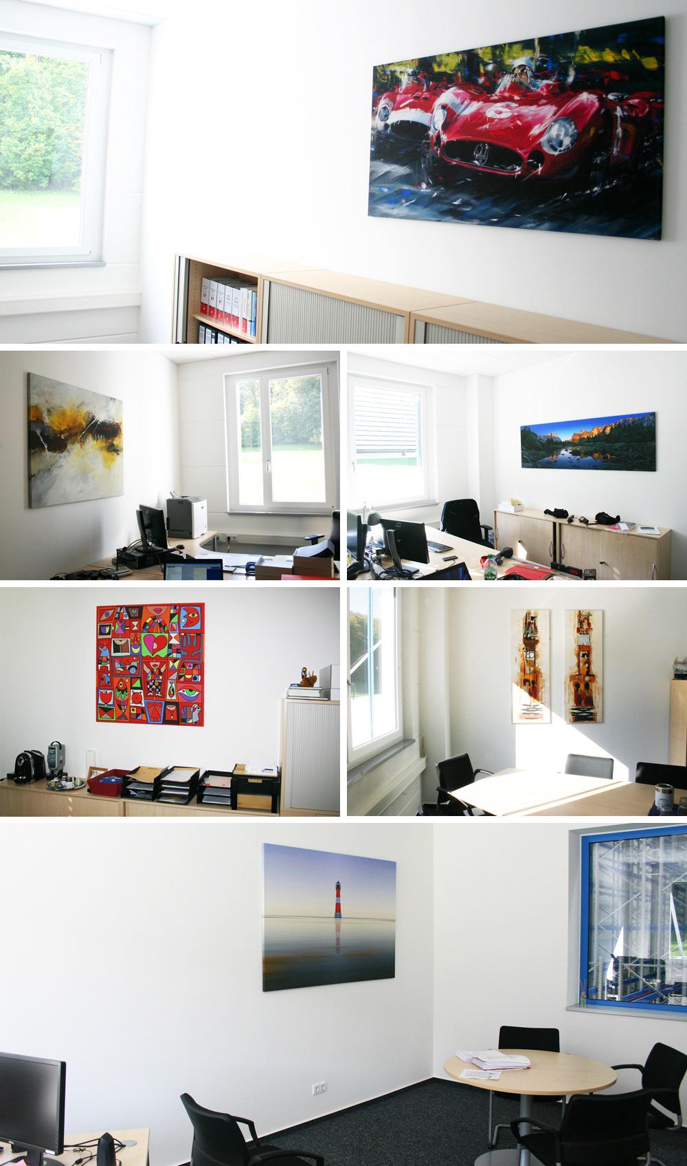 Leinwanddrucke von zeitgenössischer Kunst in Büroräumen