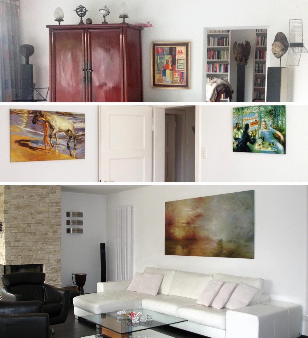 Expressionistische und impressionistische Gemälde in moderner Wohnumgebung