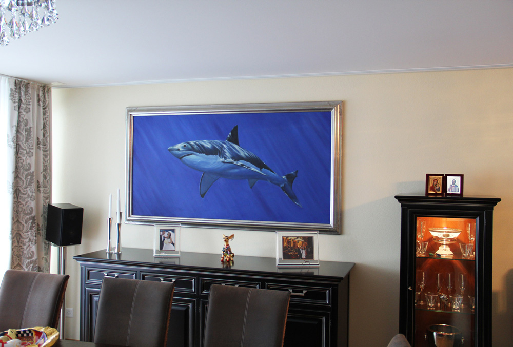 Modernes Ölgemälde mit Haifisch