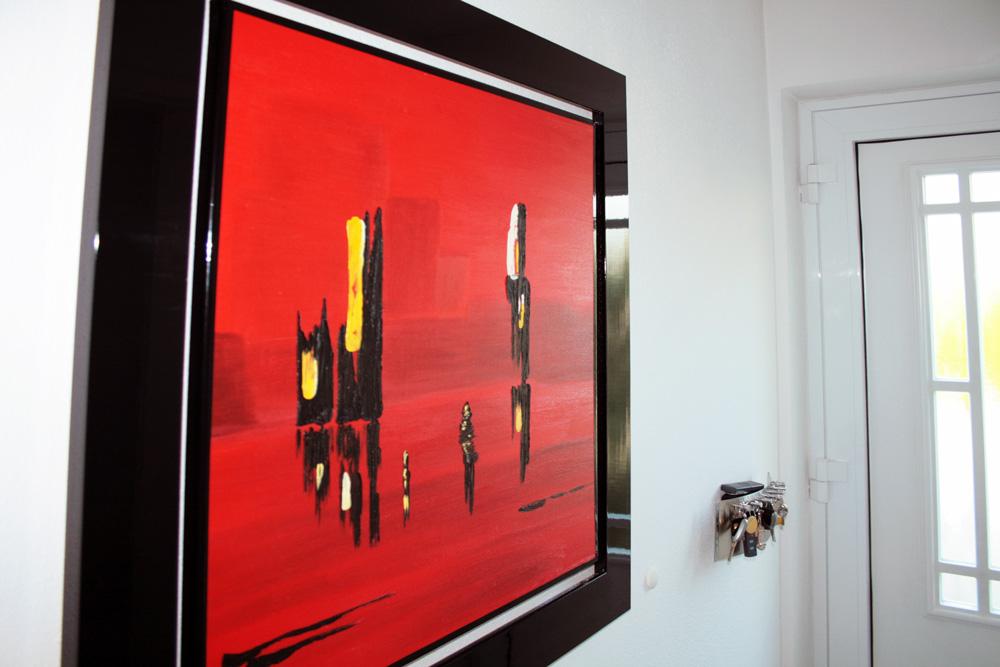 Abstraktes Ölgemälde im Rahmen mit Acrylglasscheibe