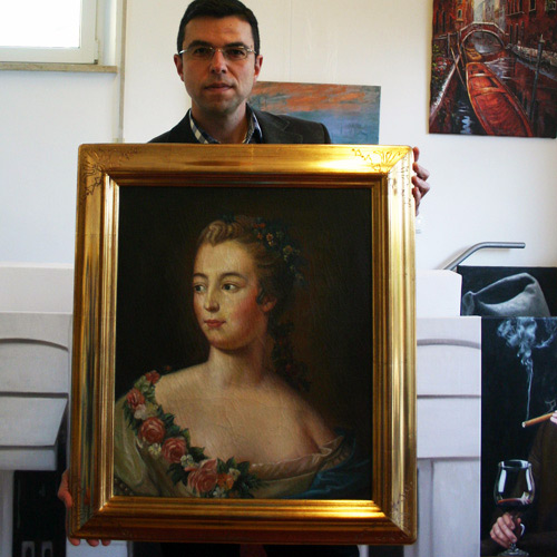 Madamme Pompadour, Klassisches Gemälde mit Craquelé Effekt