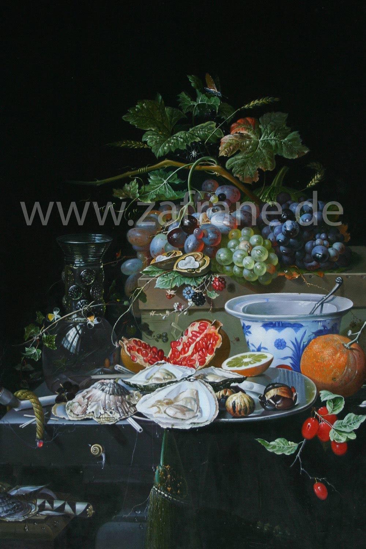 Stillebenbild Mignon Früchte Austern Porzellan