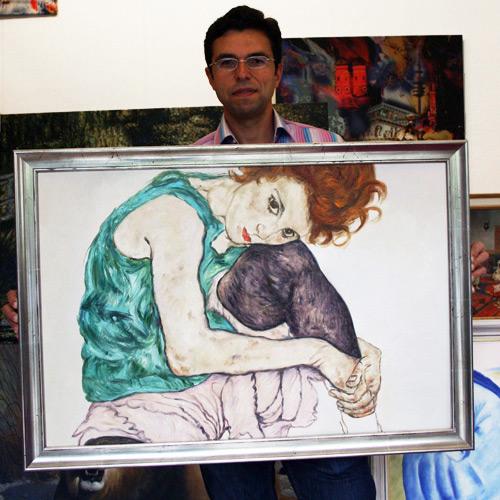 Expressionistisches Gemälde nach Schiele, Sitzende Frau mit hochgezogenem Knie