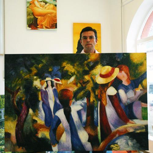 Franz Marc Mädchen im Park, expressionistische Gemäldekopie