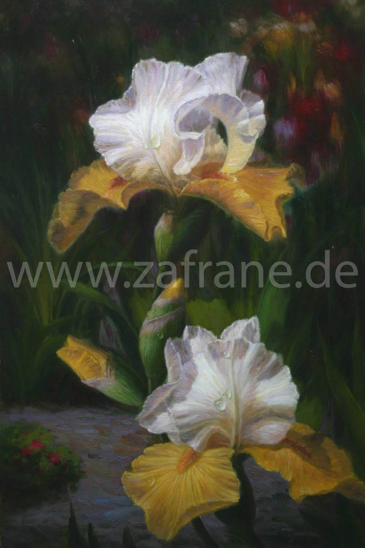 Ölgemälde mit Blumen und Wassertropfen