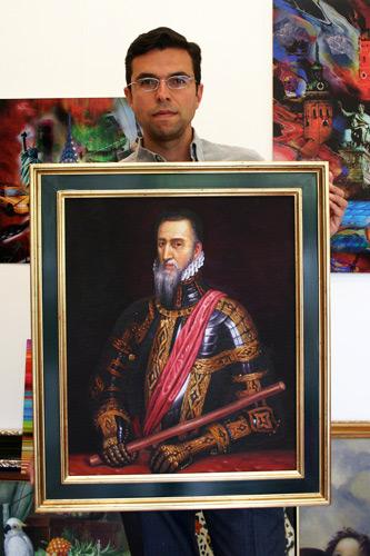 Herrscherportrait im Goldrahmen