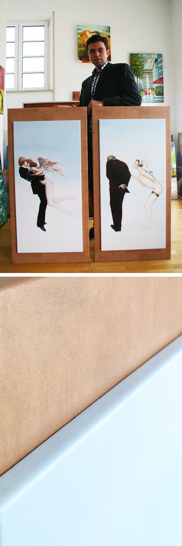 Auftragsgemälde auf mit Lederoptik bezogenen Holzplatten