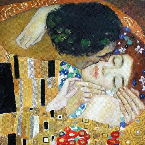 Gustav Klimt Der Kuss Oelbild kaufen